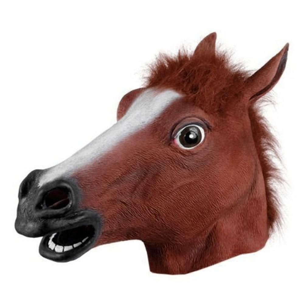 Gift Best Selling facemask Horse Head Mask Latex Animal Costume Prop Gangnam Style For Halloween scary mask call of duty New #e image