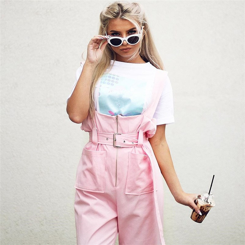 2018 Women Pink Sashes Straps Jumpsuit Casual Sleeveless Wide Leg Playsuit Loose Zipper Overall Romper