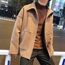 Retro work clothes button free Lapel short woolen windbreaker Korean version winter loose casual men's Worsted coat