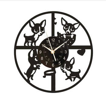 Retro Dachshund Vinyl Wall Clock Dog,Decoration for Room,Christmas Gifts for All, Living Room(size: 30 Cm In Diameter, Color: Bl