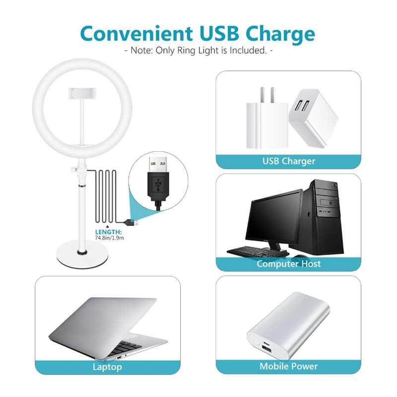 IG-10 дюймов светодиодный кольцевой светильник 5 в 8 Вт 3800-6800 к для фотосъемки с регулируемой яркостью, кольцевой светильник для селфи, видео, живой макияж, кольцевая лампа + держатель для телефона, USB P