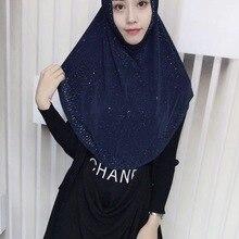 Супер качество Шиммер хиджаб длинный большой размер бисером Instand хиджаб 70*60 см