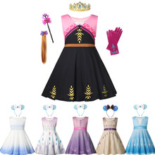Girls Summer Princess Dress Elsa Anna Sleeveless Snow Queen Cosplay Costume Beach Birthday Gift for Kids