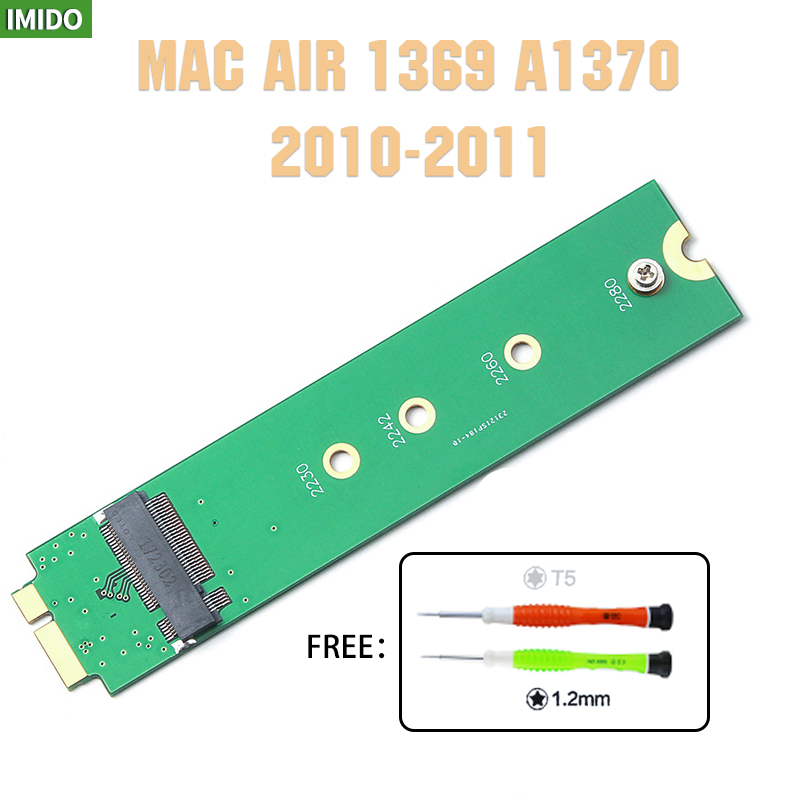 Gift Tool Screwdriver M.2 NGFF SSD To A1369 A1370 Adapter For 2010 2011 MacBook Air M2 SSD Converter Card Suppot 2242 2280 SSD