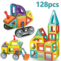 128 pcs Medium Size Magnetic Blocks 3D Designer Building Construction Toys Set Magnet Educational Toys For Children Kids Gift