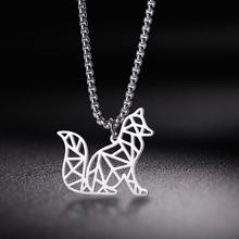My Shape Stainless Steel Fox Necklace Forest Animal Silvery Women Necklaces Hollow Pendant Cut Out Jewelry Gift For Women Men trendy cut out bar noctilucent necklace for women