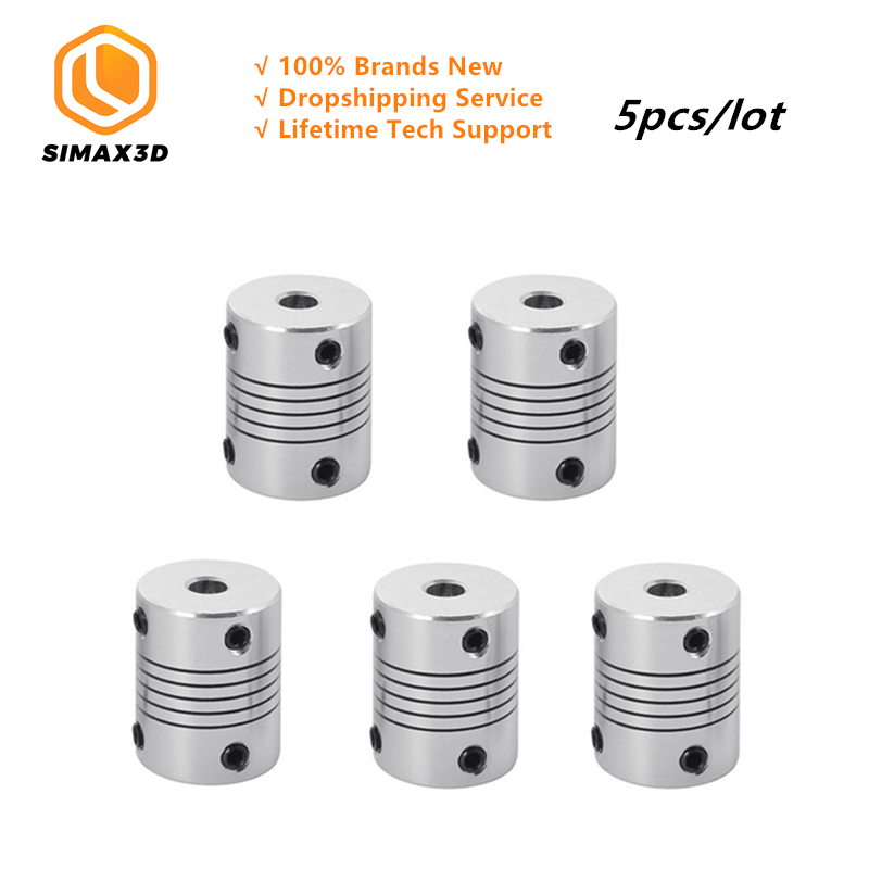 SIMAX3D 3D Printer 5pcs lot flexible Couplings 5mm to 8mm NEMA 17 Shaft for DIY 3d printer Kit Accessories in 3D Printer Parts Accessories from Computer Office