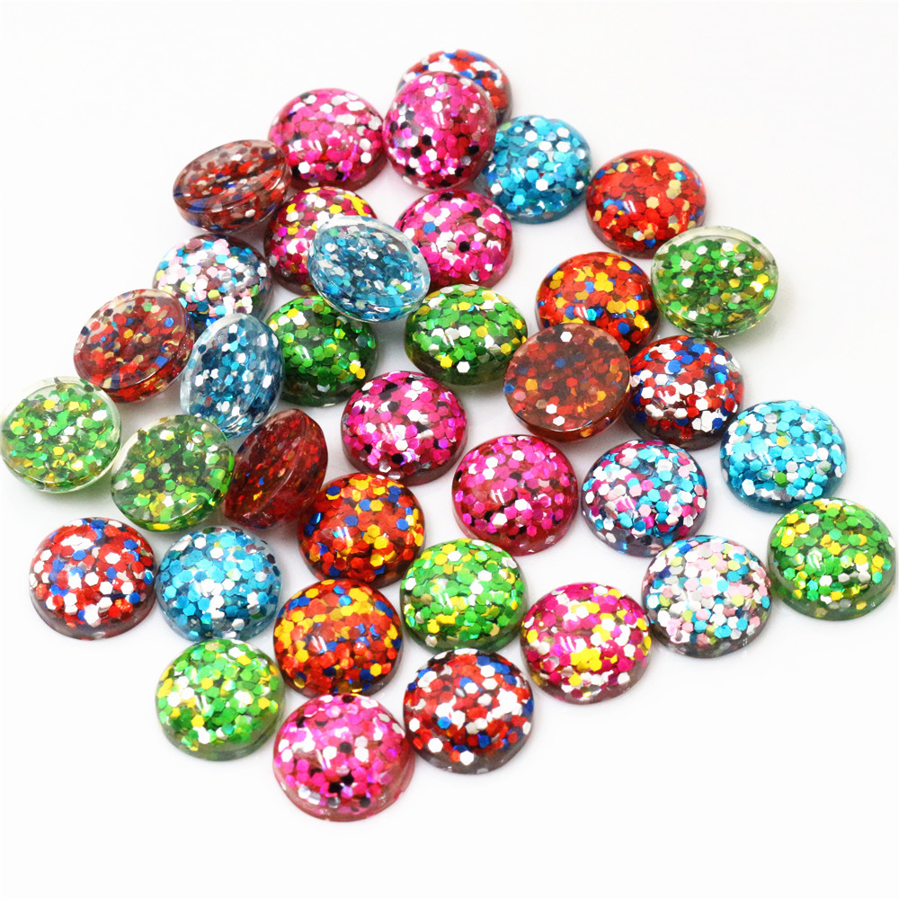 40pcs 12mm New Fashion Mix And Mix Color Flat Back Resin Cabochons Cameo Jewelry Accessories Wholesale Supplies