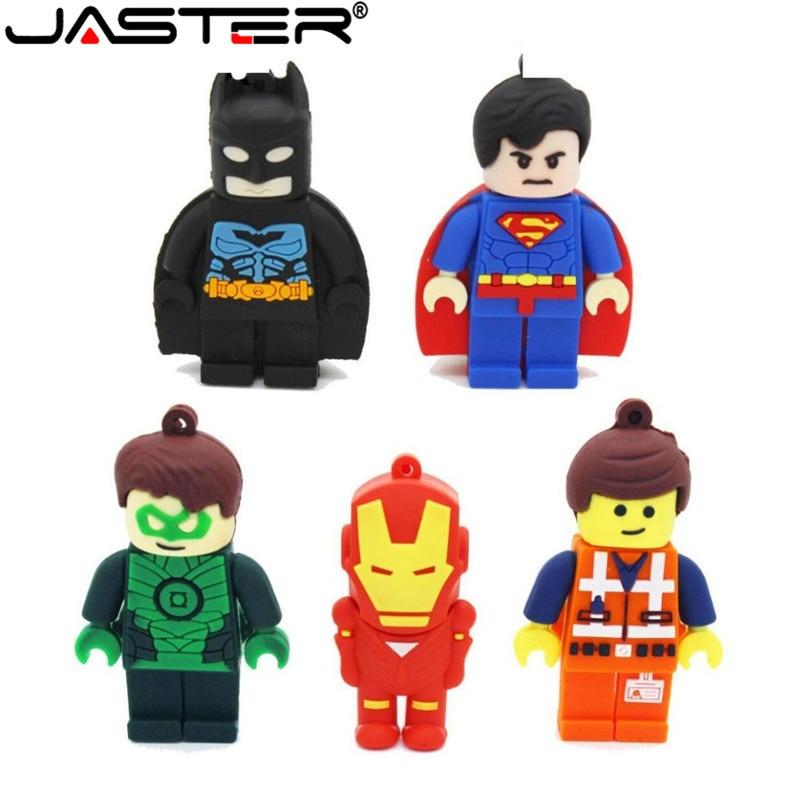 JASTER Wholesale Superman Batman Green Lantern Emmet USB Flash Drive Hero Pen Drive Pendrive 4GB 8G 16G 32GB 64GB Memory Stick