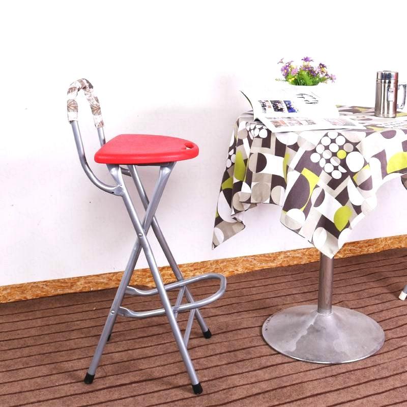 High Leg Stools With Back Folding Balcony Stool Bar Stool Portable Front Desk Chair Bearing 90kg