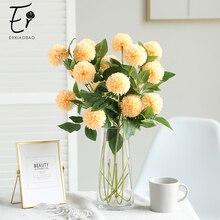 Erxiaobao 3 Heads Pompon Mum Ball Chrysanthemum Artificial Flowers High Quality Dendranthema Morifolium Fake Silk Wedding Flower