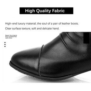 Image 4 - Mujeres invierno 2019 otoño nuevo espray puntiagudos negro de cuero artificial botas de mujer con cremallera trasera pliegues tamaño grande 43 botines