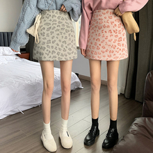 New Korean Concealed Mini Skirt Was Thin High Waist Leopard Thickened A-line Skirt Street Wear Natural Knitting Cotton Hot Sell