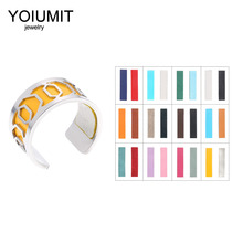 Cremo DIY Stainless Steel Rings set For Womens Bague Argent Adjustable Cuff Interchangeable Leather Charm Jewelry