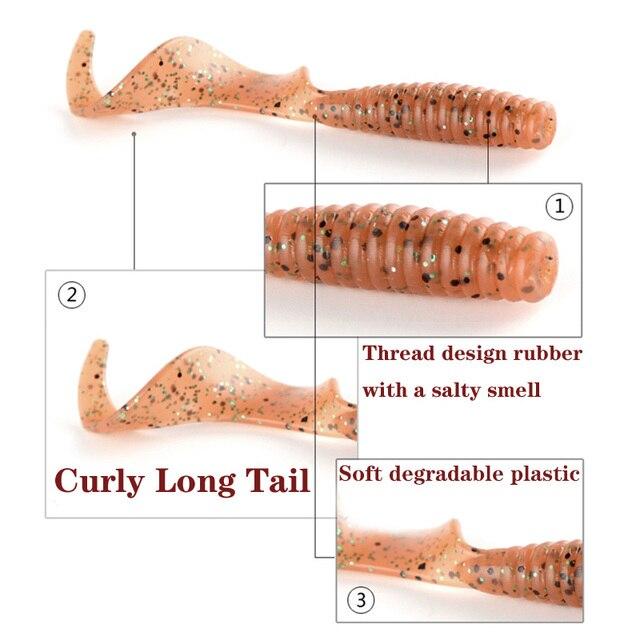5 pcs/lot Curl ver doux appât 55mm 2g Jig Wobbler artificiel crevette odeur avec sel caoutchouc basse pêche leurre longue queue nageuse