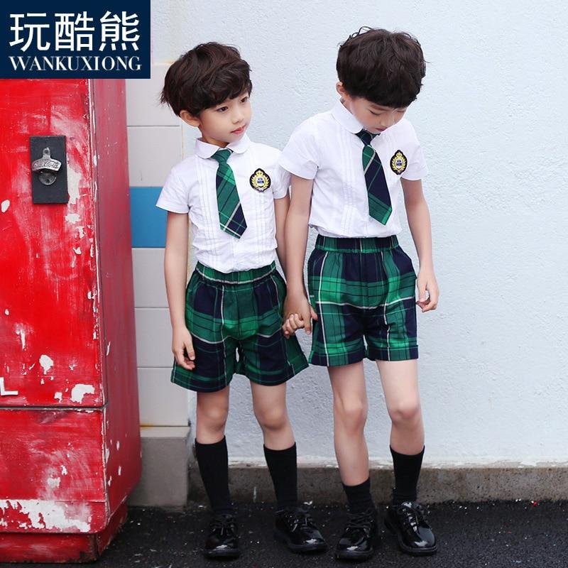 Play Cool Bear 2019 New Style CHILDREN'S Short Sleeve Shirt Set Kindergarten Suit Summer Wear Young STUDENT'S School Uniform Gra