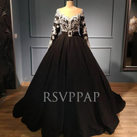 Black Long Evening Dresses 2020 Real Pictures White Lace Top O neck Long Sleeve Women Formal Evening Gowns Abendkleider