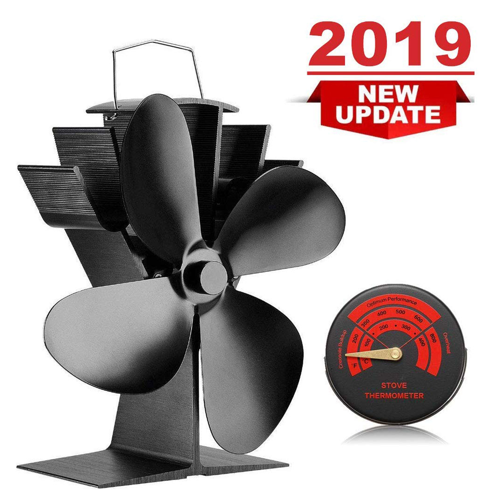 4-Blade Heat Powered Stove Fan For Wood/Log Burner/Fireplace With Stove Thermometer Eco Friendly And Efficient Heat Distribution