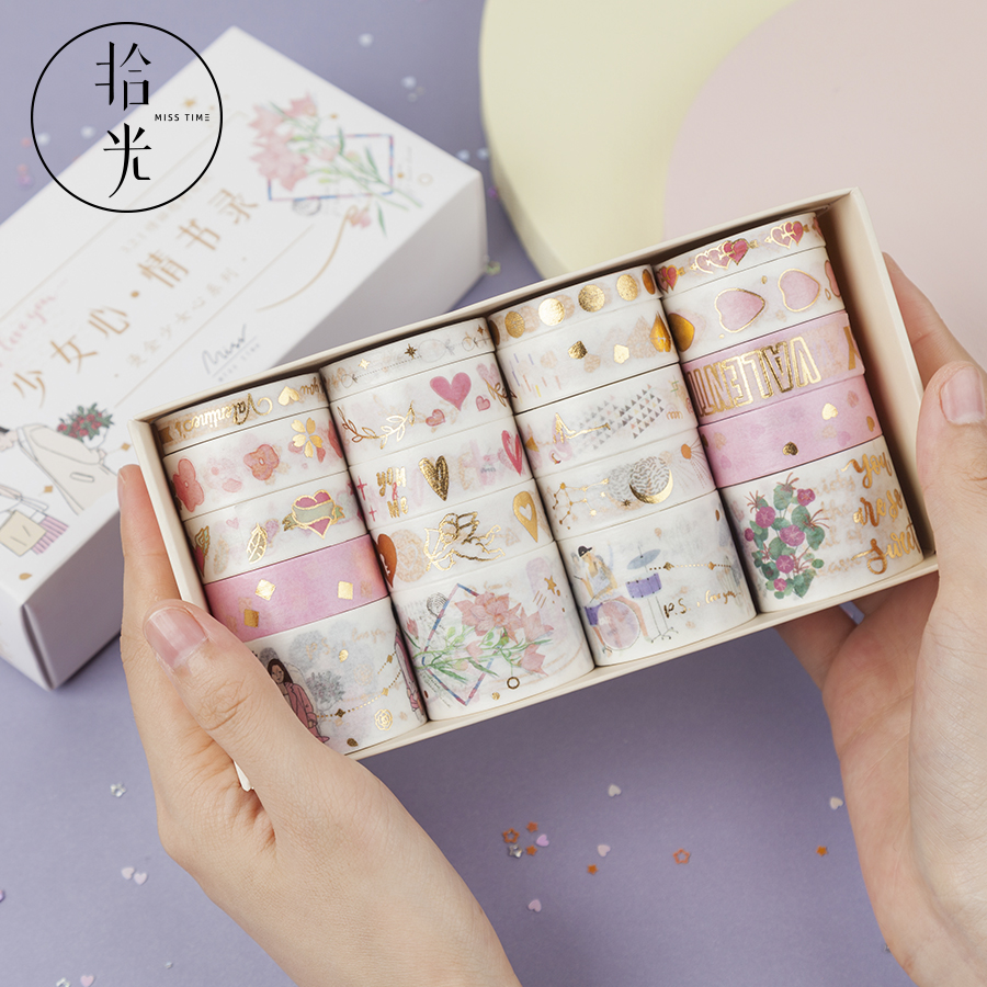 Bullet Journal Scrapbooking-Sticker Adhesive-Tape Japanese Stationery Retro Divine Gold