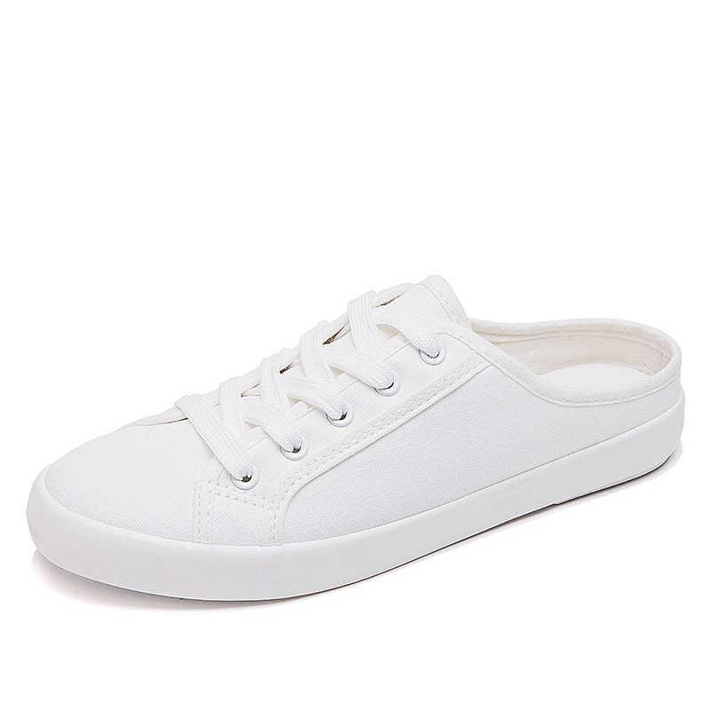 Vải Bố Nữ Giày Casual 2020 Đế Bằng Phối Ren Nữ Giày Sneaker Nông Nữ Thoải Mái Giày Người Phụ Nữ Dạo Phố Mùa Thu Giày