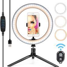"""Zayex 26 см 1"""" светодиодный кольцевой светильник для селфи с штативом, держателем для телефона, Bluetooth, дистанционным управлением, usb-разъемом, для фотостудии"""