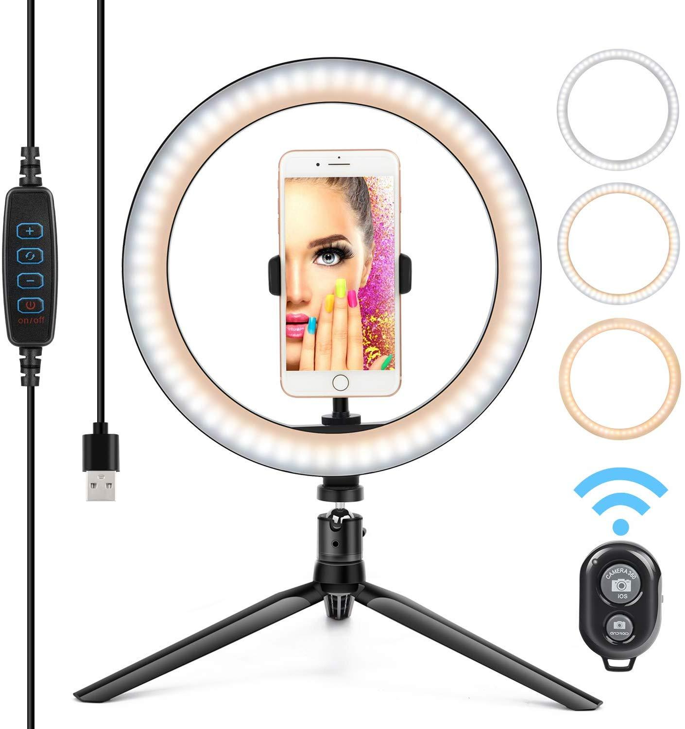 "Zayex 26cm 10""Photography LED Selfie Ring Light With Tripod Phone Holder Bluetooth Remote Control  USB Plug Photo Studio"