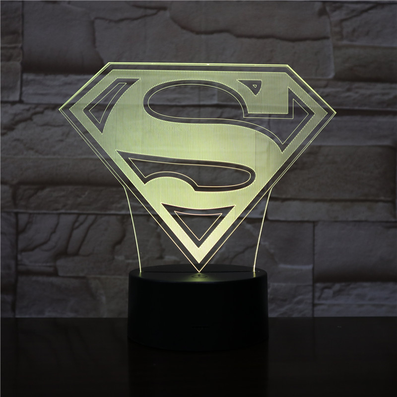 Superman Batman Logo Usb 3d Led Night Light Cartoon Superhero Boys Kids Birthday Gifts Table Lamp Bedside Bed Drop Gift 2439