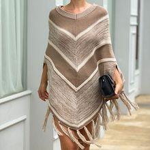 Свитера Пончо Накидки для женщин Мода Леди кисточкой плащ Офис Элегантный пуловер свитер женская зимняя одежда
