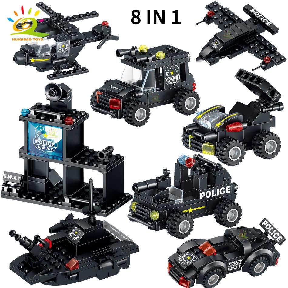 820PCS SWAT Police Team Building Blocks legoing City Command truck Car Helicopter Mech weapon soldier Model Bricks Children Toys
