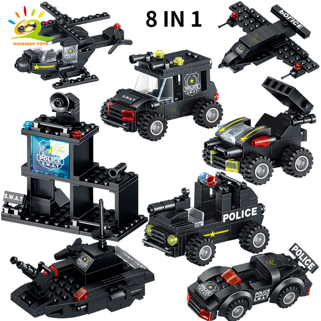 HUIQIBAO 820PCS SWAT Police Team Building Blocks City Command truck Car Helicopter Mech weapon soldier Model Bricks Children Toy
