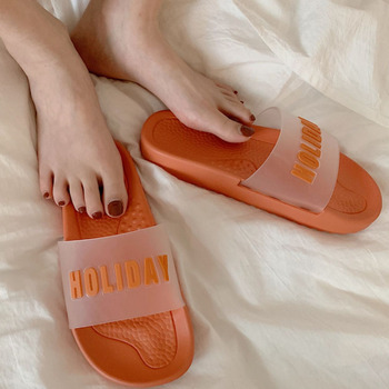 Letter Shoes Summer Womens Slippers Cute Jelly Flip-flops Open-toed Sandals Indoor Slides Outdoor Female Beach