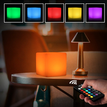 купить Creative Cube 3D LED Night Light Rechargeable 5W 16 Colors Dimmable RGB Remote Control Desk Lamp Mood Outdoor Garden LED Light дешево