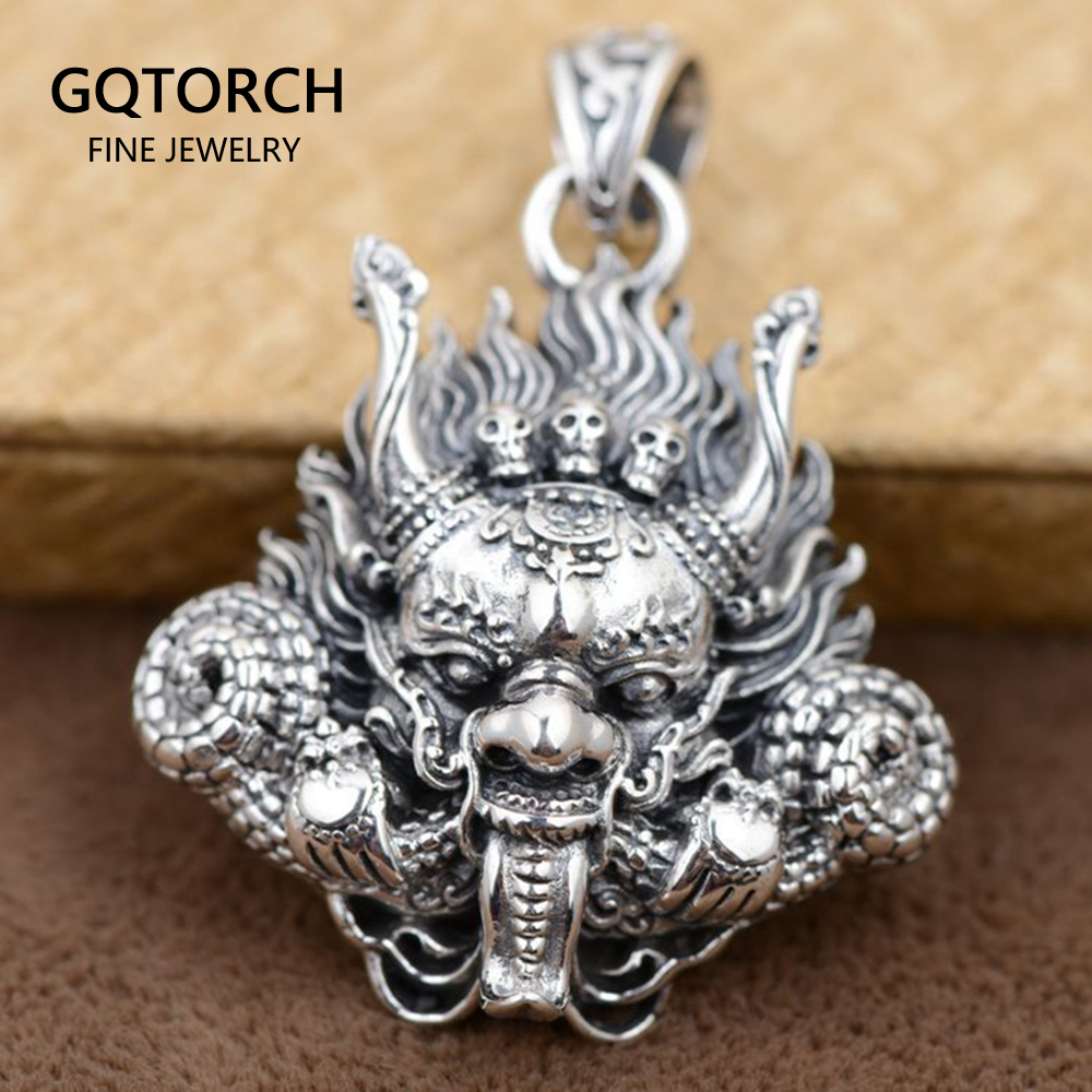 Thai Silver 925 Sterling Silver Pendant Antique Style Dragon Head With Skulls Mahakala Personality Punk Mens