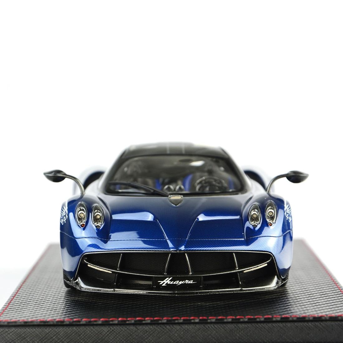 1:18 modelo de coche Pagani HUAYRA colección de modelos de decoración con Base cubierta de polvo modelo educativo juguete azul/Gris Carbón/rojo púrpura