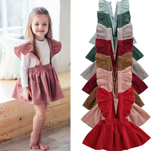 1-6Y Kids Girls Fly Sleeve Strap Skirts Corduroy Tutu Skirt Clothes Cute Outfits Autumn Winter Solid Suspender Skirt(China)