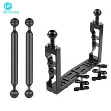 Dual Handheld Diving Underwater Tray Light Arm Extension Bracket Three-Clip Handle Grip Stabilizer Video for Gopro SLR Camera