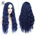 Benegem темно-синий женский парик, длинные волнистые синтетические термостойкие парики для вечерние, парик для косплея, 26 дюймов 66 см