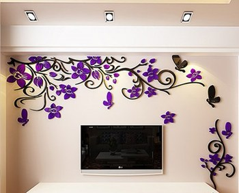 DIY Removable Vinyl Flower Wall Sticker Modern Decals For Wall Decor TV Background Decoration Mural Wallpaper For Living Room 13