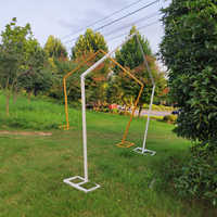 Hochzeit requisiten Hintergrund Eisen kunst fünfeckigen regal Geometrisch förmigen Bogen hochzeit bühne neue dekorative blumen hochzeit bögen