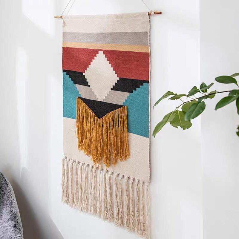 Handmade Weave Tapestry Nordic INS Handmade Tapestry Decorative Wall Cloth Decorative Wall Hanger Wall hanging Tassel Tapestry