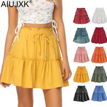 AIUJXK 10-Color Primavera Verano 2021 de moda de las mujeres falda sólido alto cintura Mini faldas Casual mujer volantes Vestido de playa Jupe Short