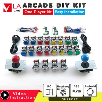 2 player arcade cabinet diy arcade zero delay encoder kit arcade copy sanwa joystick USB to PC Rasberry PI 5V LED push button one player arcade game diy parts kit usb encoder pc joystick retro game diy kit for raspberry pi 3 retropie