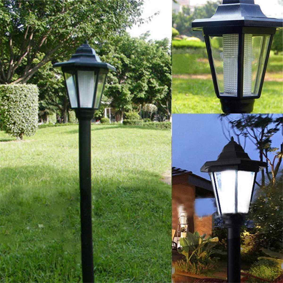 Garden Lanterns Pillar Yard Garden Decoration Lighting White Light LED Solar Light Under Ground Lawn Lamp Post Outdoor