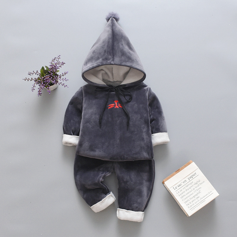 Fashion baby clothes winter children's suit letter hooded sweater baby girl gold velvet thick warm two-piece baby boy clothing