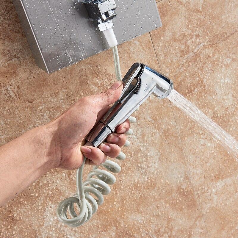 Hf9db5eacc598464e846052416ab8a1b7b Black LED Light Shower Faucet Bathroom SPA Massage Jet Shower Column System Waterfall Rain Shower Panel Bidet Sprayer Tap