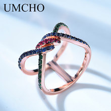 UMCHO Genuine 925 Sterling Silver Double Circle Ring for Woman Sterling Silver Jewelry Wedding Engagement Gift Fine Jewelry цена 2017