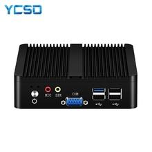 YCSD 팬리스 미니 PC 듀얼 LAN 셀러론 N2810 J1900 미니 컴퓨터 2 * 기가비트 LAN Windows 7 10 WIFI HDMI USB 데스크탑 마이크로 Htpc Nuc