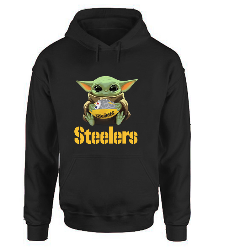 Steelers Baby Yoda Hoodies Women Harajuku Woman Clothes Casual Cartoon Pullovers Korean Hoodie Love Black Full Clothes