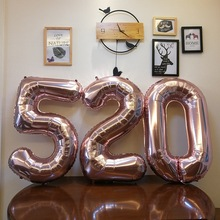 1pc 40 inch rose Gold Silver Aluminium Foil Number Balloons 0-9 Birthday Wedding Engagement Party Decor Globo Kids Ball Supplies 30 40 inch rose gold silver foil number balloons birthday party decor air helium number globos kid baloons birthday balon