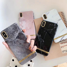 Luxury Glossy Marble Phone Cases For iphone 7 X 8 6s 6 Plus XS XR Chic Gold Bar Soft Back Cover For iPhone 8 XS MAX Fundas Coque цена и фото